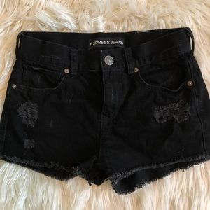 Express black denim shorts